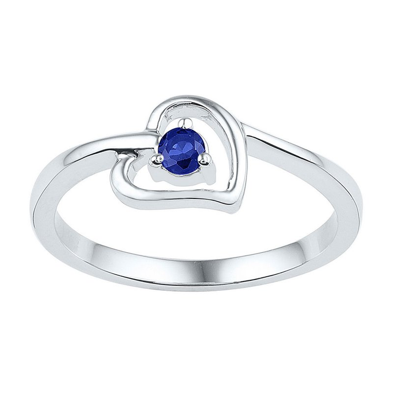 Gold-N-Diamonds, Inc. (Atlanta) Sterling Silver Womens Round Lab-Created Blue Sapphire Solitaire Heart Ring 1/4 Cttw