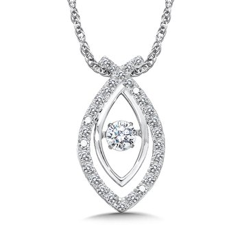 Dancing Diamond Criss Cross Pendant in 14K White Gold with Chain