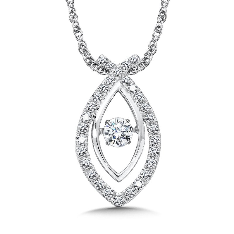 SDC Creations Dancing Diamond Criss Cross Pendant in 14K White Gold with Chain