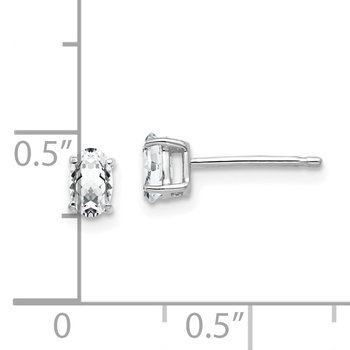 14k White Gold 5x3mm Oval Cubic Zirconia Earrings