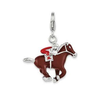 Sterling Silver Enamel Horse and Jockey w/ Lobster Clasp Charm