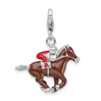 Sterling Silver RH w/ Lobster Clasp Enamel Jockey on Horse Charm