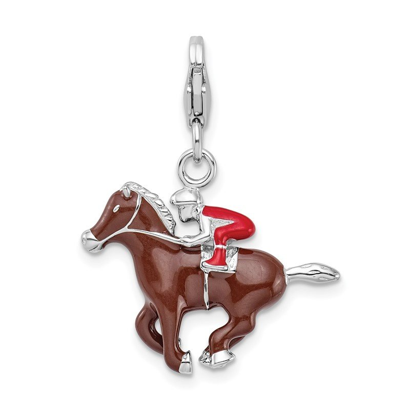 Quality Gold Sterling Silver RH w/ Lobster Clasp Enamel Jockey on Horse Charm