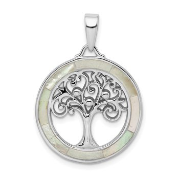 Sterling Silver Rhodium-plated White MOP Tree of Life Pendant