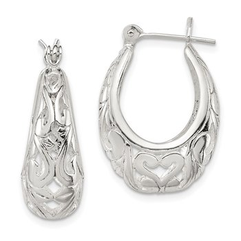 Sterling Silver Oval Filigree Hoop Earrings
