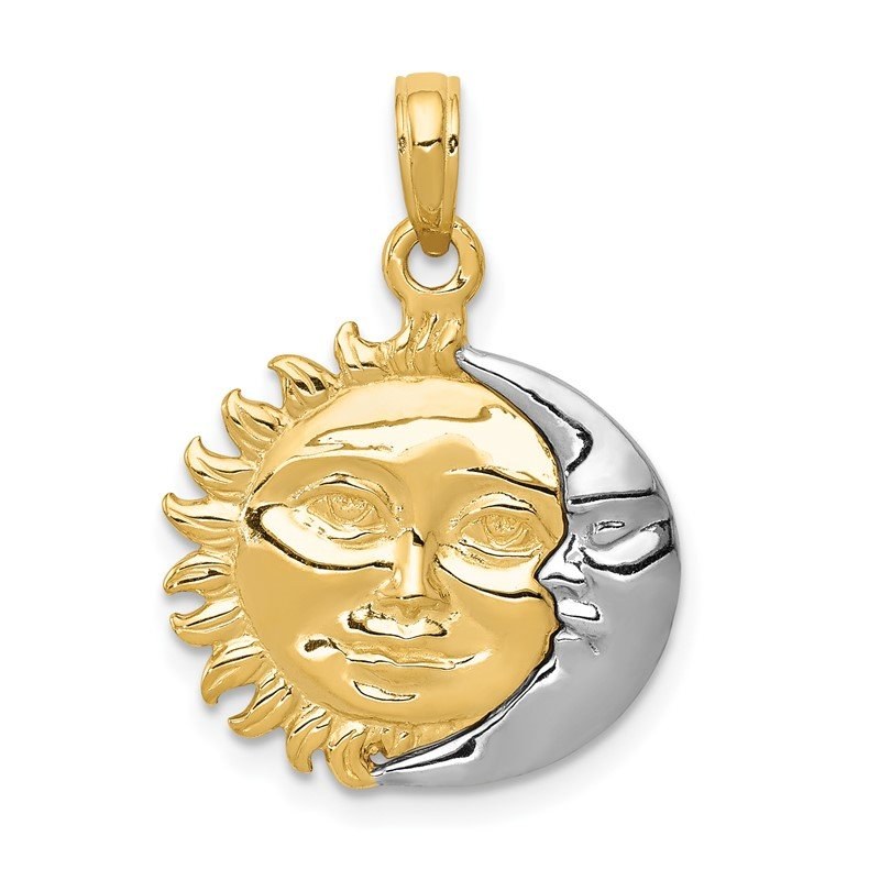 Quality Gold 14k Two-Tone Solid Polished Reversible Sun and Moon Pendant
