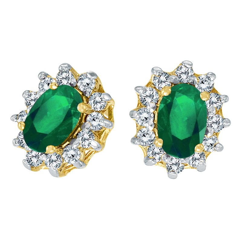 Color Merchants 10k Yellow Gold Oval Emerald and .25 total ct Diamond Earrings