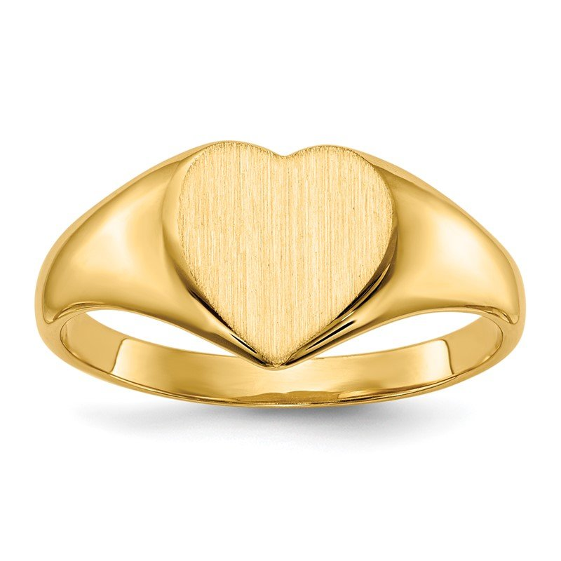 Quality Gold 14k 9.0x9.0mm Closed Back Heart Signet Ring