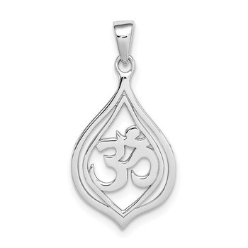 Sterling Silver Rhodium-plated Om Pendant
