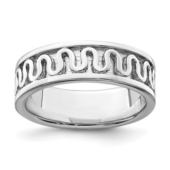 Sterling Silver Rhodium-plated Polished Fancy Ribbon Band