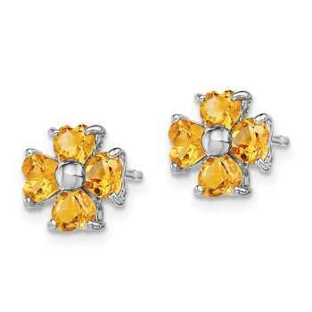 Sterling Silver Rhodium Citrine Flower Post Earrings