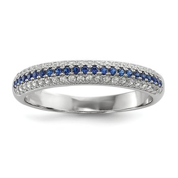 SS Rhodium-Plated Blue & White CZ Brilliant Embers Polished Ring