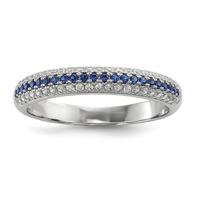 Quality Gold Sterling Silver Blue & White CZ Brilliant Embers Polished Ring