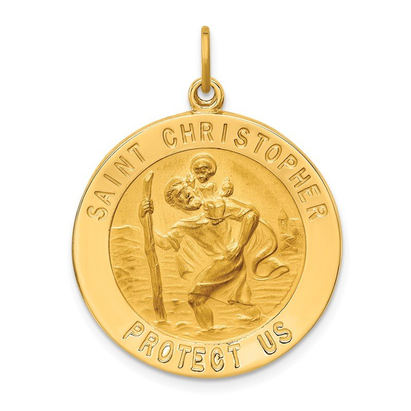 Quality Gold 14k Solid Polished/Satin Large Round St. Christopher Medal