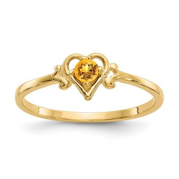 14K Citrine Birthstone Heart Ring