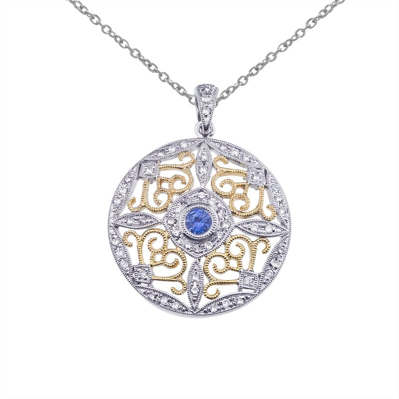 Color Merchants 14k Two-Tone Gold Sapphire and Diamond Round Filigree Pendant