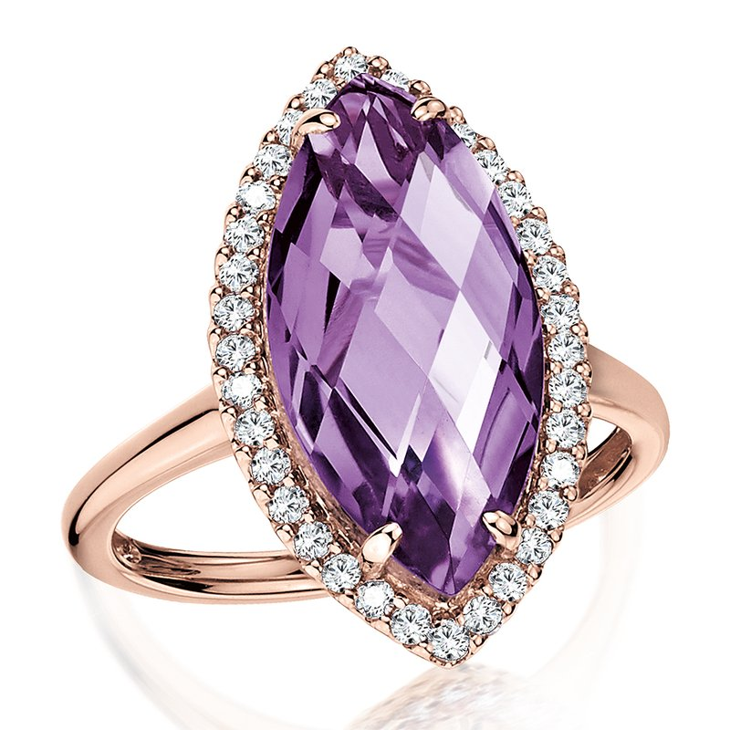Colore Oro Marquise Amethyst & Diamond Statement Ring in 14K Rose Gold