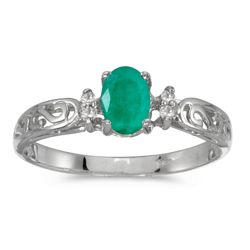 Color Merchants 14k White Gold Oval Emerald And Diamond Filagree Ring