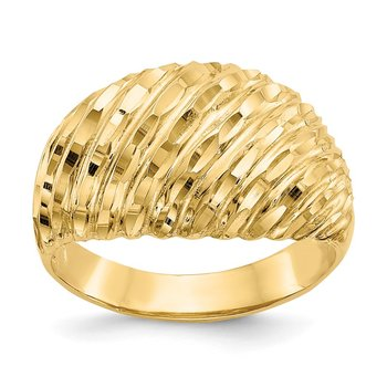 14K Diamond-cut Domed Ring
