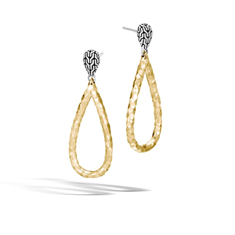 JOHN HARDY Classic Chain Drop Earring in Silver and Hammered 18K Gold