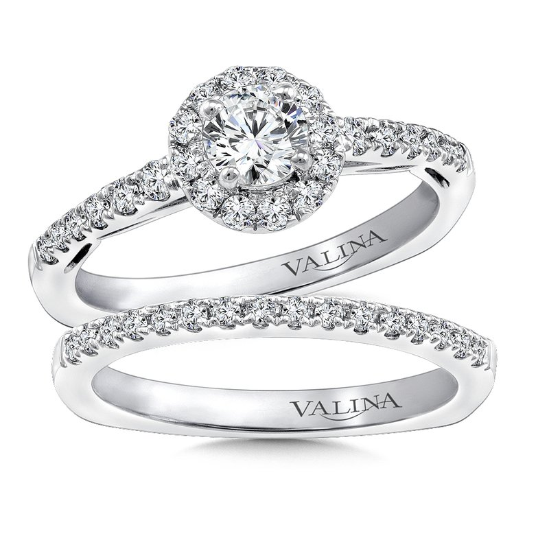 Halo Engagement Ring Mounting in 14K White Gold (.30 ct. tw.)