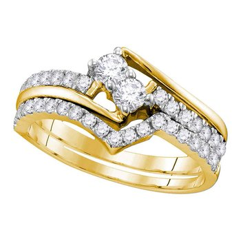 14kt Yellow Gold Womens Round 2-Stone Diamond Hearts Together Bridal Wedding Engagement Ring Band Set 3/4 Cttw (Certified)