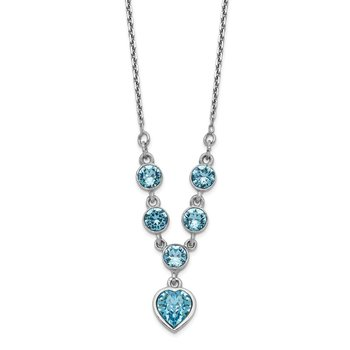 Sterling Silver Rhodium-plated Blue Crystal Heart w/2in ext Necklace