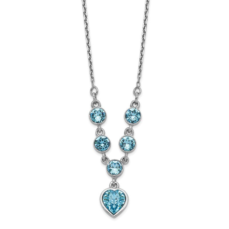 Quality Gold Sterling Silver Rhodium-plated Blue Crystal Heart w/2in ext Necklace