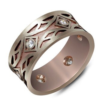10mm two-tone white and rose gold pattern cut out band, embelished with 6X0.03CT diamonds