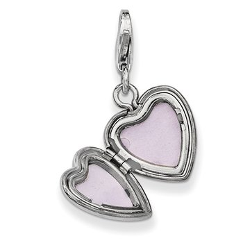 Sterling Silver Rhodium-plated & Dia. Lobster Clasp 12mm Heart Locket