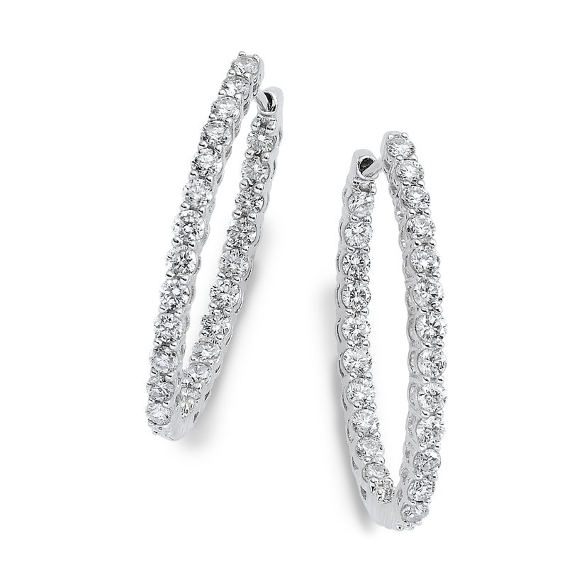SDC Creations Pave set Diamond Oval Reflection Hoops in 14k White Gold (1 3/4 ct. tw.) HI/SI2-SI3
