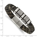 Chisel Stainless Steel Antiqued Brushed & Polished Leather w/Silicone Bracelet