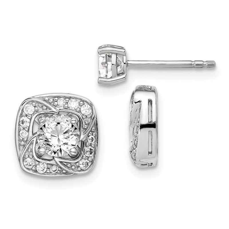 Quality Gold Sterling Silver Rhodium-plated 5mm Round CZ Earrings w/Square Jackets