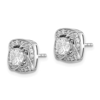 Sterling Silver Rhodium-plated 5mm Round CZ Earrings w/Square Jackets