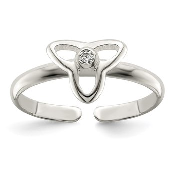 Sterling Silver CZ Polished Trinity Toe Ring