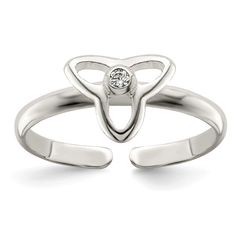 Quality Gold Sterling Silver CZ Polished Trinity Toe Ring