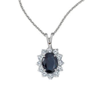 14k White Gold Oval Sapphire Pendant with Diamonds
