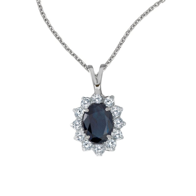Color Merchants 14k White Gold Oval Sapphire Pendant with Diamonds