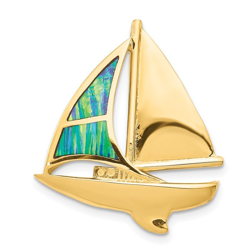 Quality Gold 14K Imitation Opal Sailboat Slide