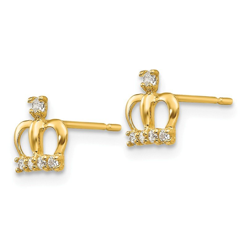 Quality Gold 14k Madi K CZ Crown Post Earrings