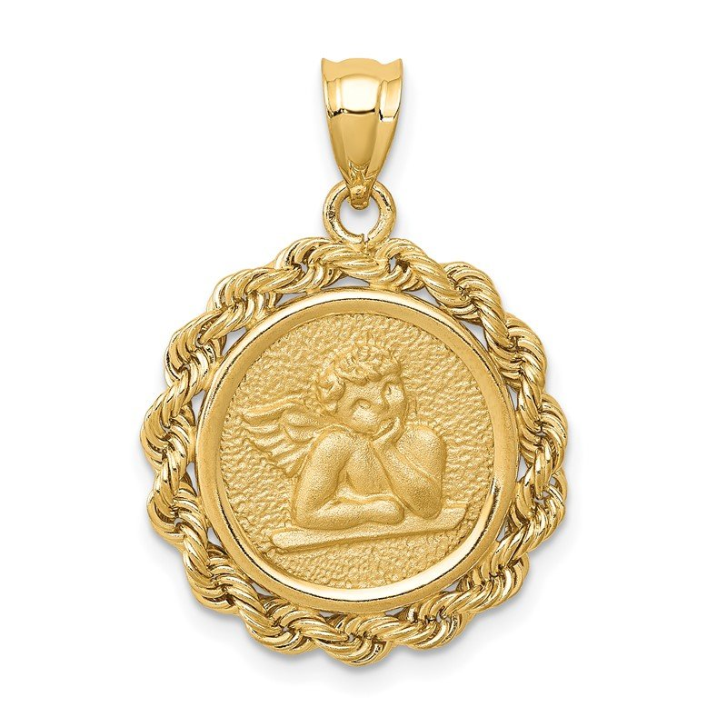 Quality Gold 14k Satin Angel in Bezel Charm