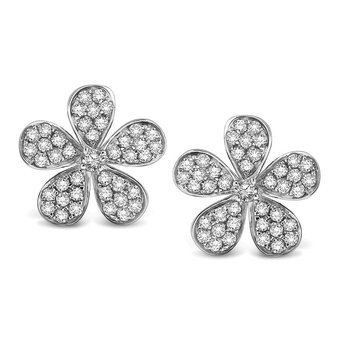 Diamond Floral Earrings in 14k White Gold with 82 Diamonds weighing .43ct tw.