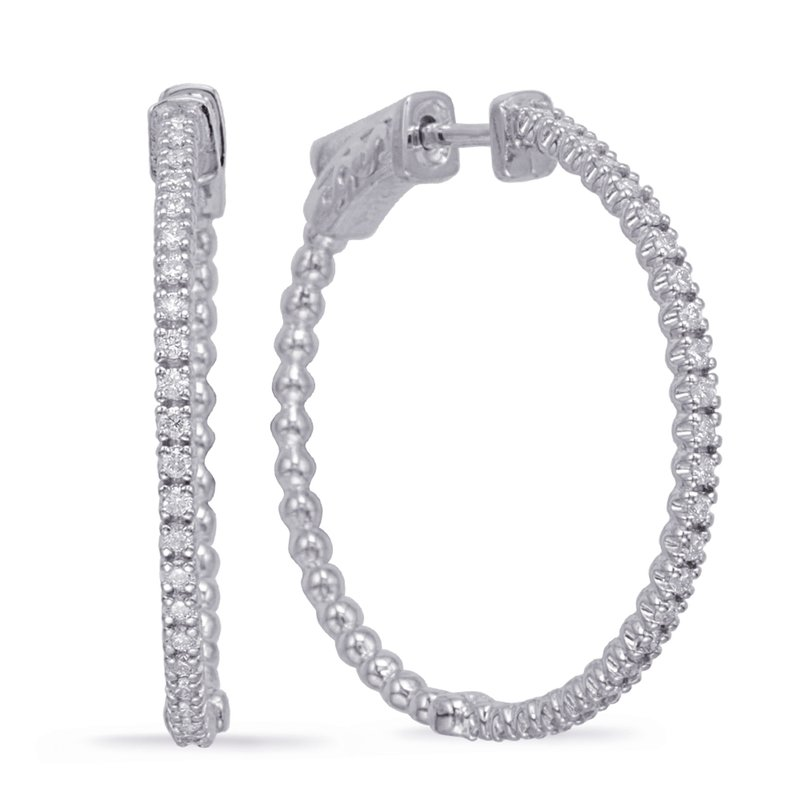 S. Kashi  & Sons White Gold 1 Inch Securehinge Hoop