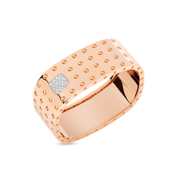 4 Row Square Bangle With Diamonds &Ndash; 18K Rose Gold, P