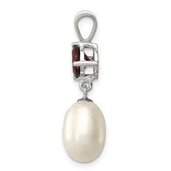 Sterling Silver Rhodium-plated Garnet 8-9mm FWC Pearl Teardrop Pendant