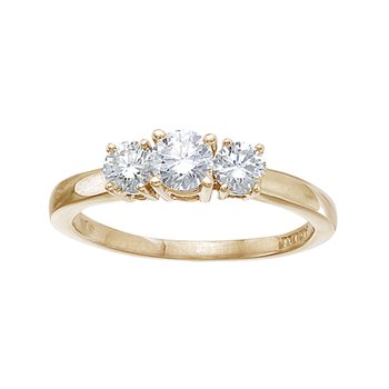 14k Yellow Gold 0.75 Ct Three Stone Diamond Ring