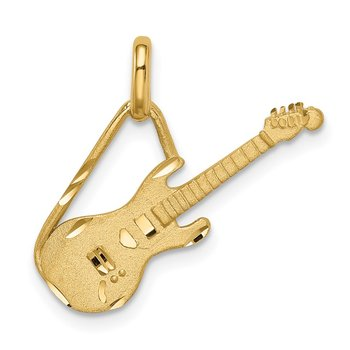14K Brushed & Diamond-cut Guitar Pendant