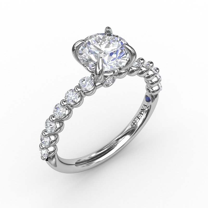 Contemporary Round Diamond Solitaire Engagement Ring With Diamond Band