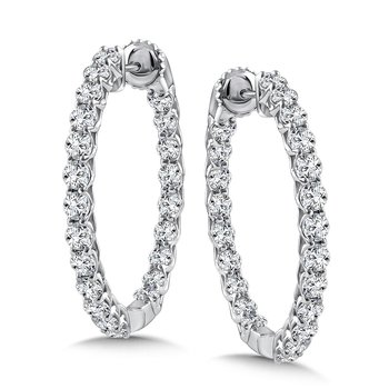 Diamond Reflection Hoops in 14K White Gold with Platinum Post (3.47 ct. tw.)