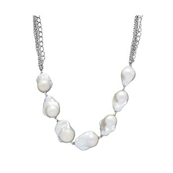"Honora Sterling Silver 13-18mm White Baroque Freshwater Cultured Pearl Three Row Chain 19"" Necklace"